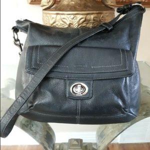 COACH Black Leather Shoulder Bag, F19045
